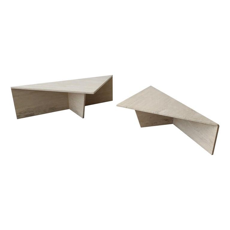 2-Piece Tiered Triangle Postmodern Italian Travertine Coffee Table For Sale