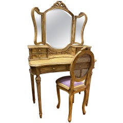 2-Piece Vintage Painted Vanity with Beveled Mirror and Chair