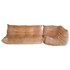 2-Piece Vintage Rose Colored Togo Sofa by Michel Ducaroy