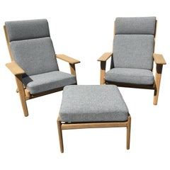2 Pieces Armchairs and 1 Stool Designed by Hans J. Wegner Produced at GETAMA