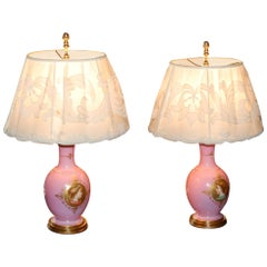 2 Pink French Porcelain Hand Decorated Urn Lamps with Female Portrait Medallions