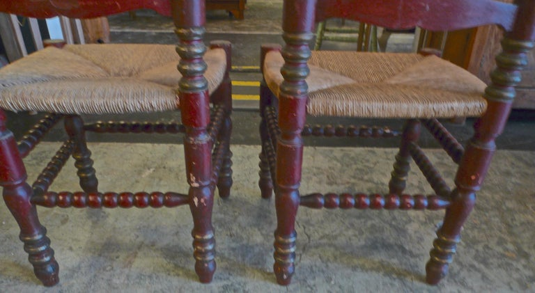 2 Portuguese Painted Ladder Back Side Chairs with Rush Seat and Flower Motif For Sale 5