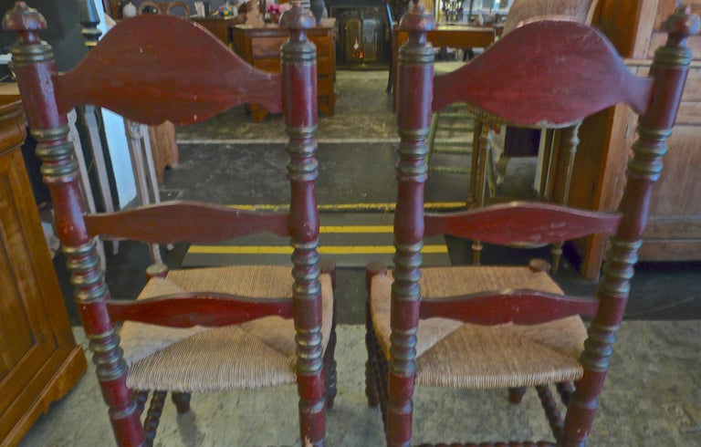 2 Portuguese Painted Ladder Back Side Chairs with Rush Seat and Flower Motif For Sale 6