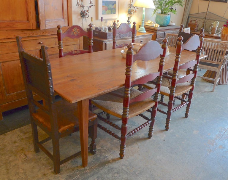 2 Portuguese Painted Ladder Back Side Chairs with Rush Seat and Flower Motif For Sale 8