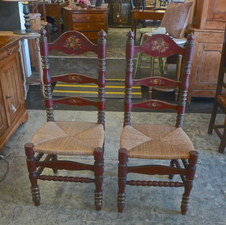 Hand-Painted 2 Portuguese Painted Ladder Back Side Chairs with Rush Seat and Flower Motif For Sale