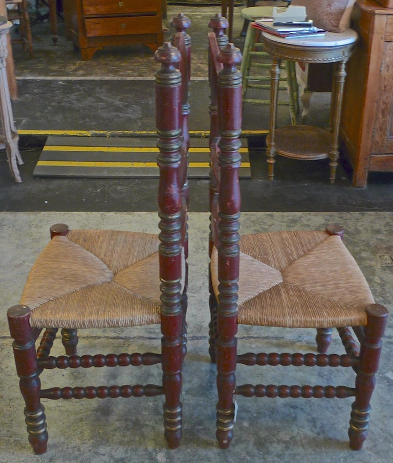 2 Portuguese Painted Ladder Back Side Chairs with Rush Seat and Flower Motif For Sale 1