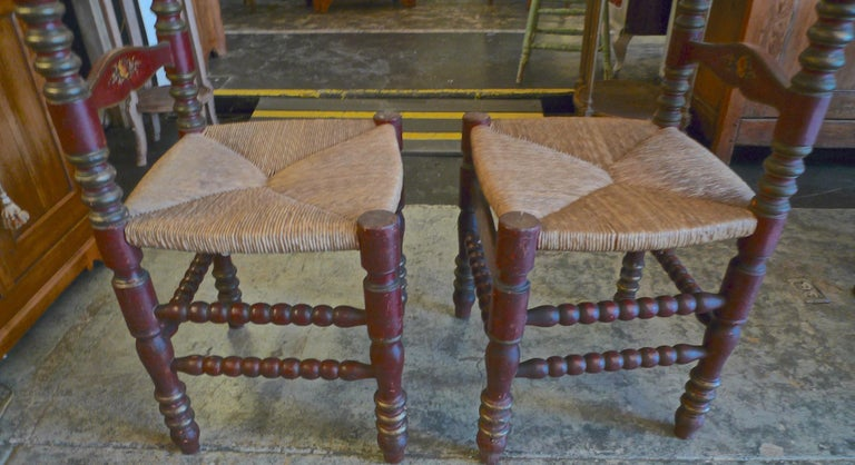 2 Portuguese Painted Ladder Back Side Chairs with Rush Seat and Flower Motif For Sale 2