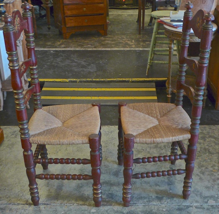 2 Portuguese Painted Ladder Back Side Chairs with Rush Seat and Flower Motif For Sale 3