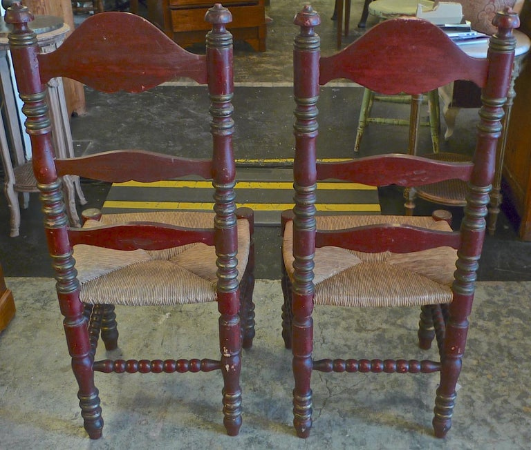 2 Portuguese Painted Ladder Back Side Chairs with Rush Seat and Flower Motif For Sale 4