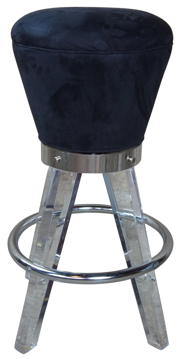 Post-Modern 2 Postmodern H. Studio Lucite and Chrome Gumdrop Bar Counter Stools Haziza For Sale