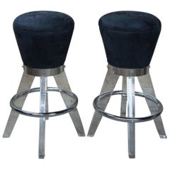 2 Postmodern H. Studio Lucite and Chrome Gumdrop Bar Counter Stools Haziza