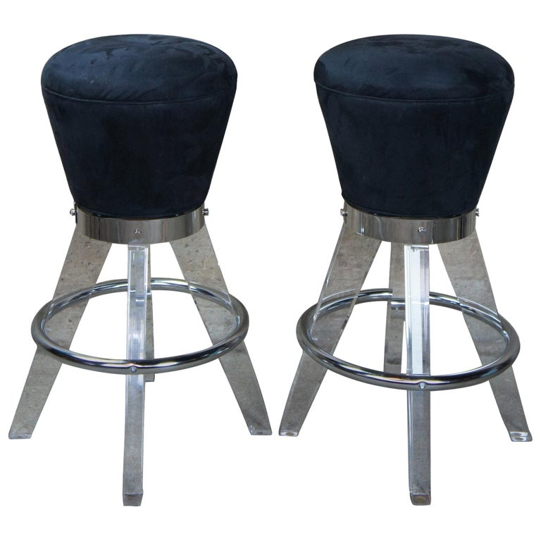 2 Postmodern H. Studio Lucite and Chrome Gumdrop Bar Counter Stools Haziza For Sale