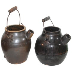 2 Pottery Batter Jugs with Original Wire Handles, 19th Century
