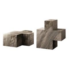 2 Q3 Elements Bardiglio Sculptures by Studio Formart