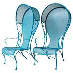2 R. Woodard Newly Enameled Lagoon Blue Wrought Iron Patio Canopy Arm Chairs