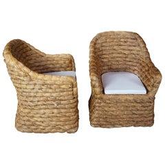 2 Ralph Lauren Joshua Tree Woven Barrel Back Dining Chairs Bohemian Boho Chic
