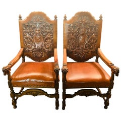 2 Rare Armchairs with Ram Heads, Fantastic Leather, Solid Oak, circa 1880