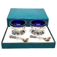 2 Reed & Barton Cobalt Blue Glass Sterling Silver Salt Cellars
