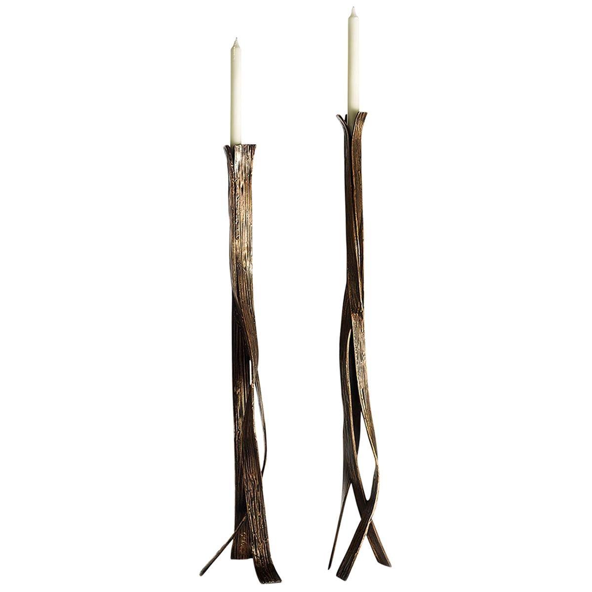 2-Ribbon Sculptural Candleholders
