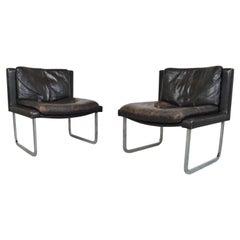 2 Robert Haussmann for De Sede Leather & Chrome Cantilever Lounge Chairs, 1970s