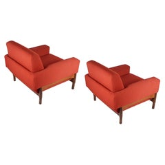 2 Rosewood and Brick Red Fabric 1960 Armchair by S. Saporiti for F.Lli Saporiti