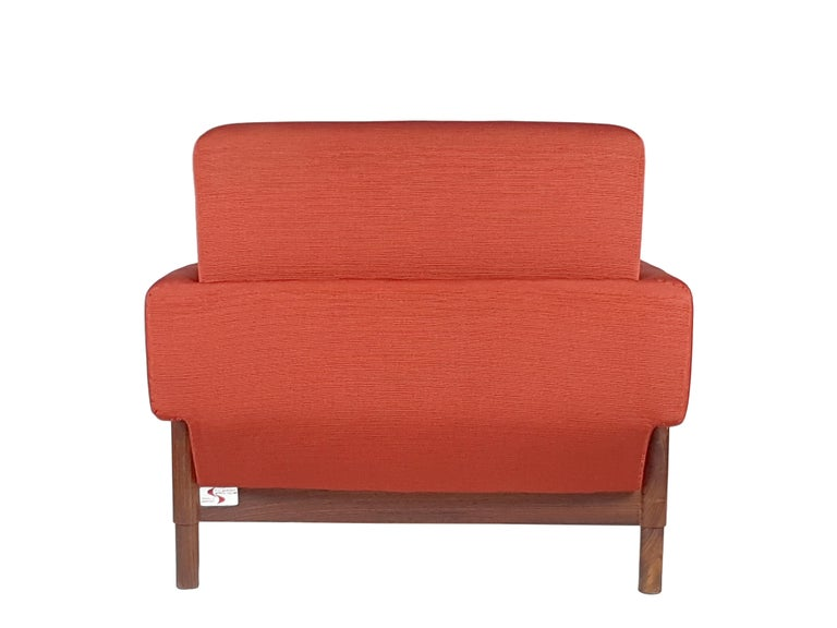 2 Rosewood and Brick Red Fabric 1960 Armchair by S. Saporiti for F.lli Saporiti For Sale 4