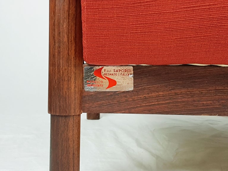 2 Rosewood and Brick Red Fabric 1960 Armchair by S. Saporiti for F.lli Saporiti For Sale 5