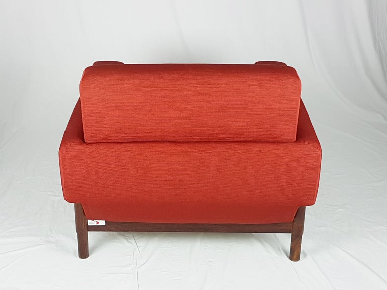 2 Rosewood and Brick Red Fabric 1960 Armchair by S. Saporiti for F.lli Saporiti For Sale 6