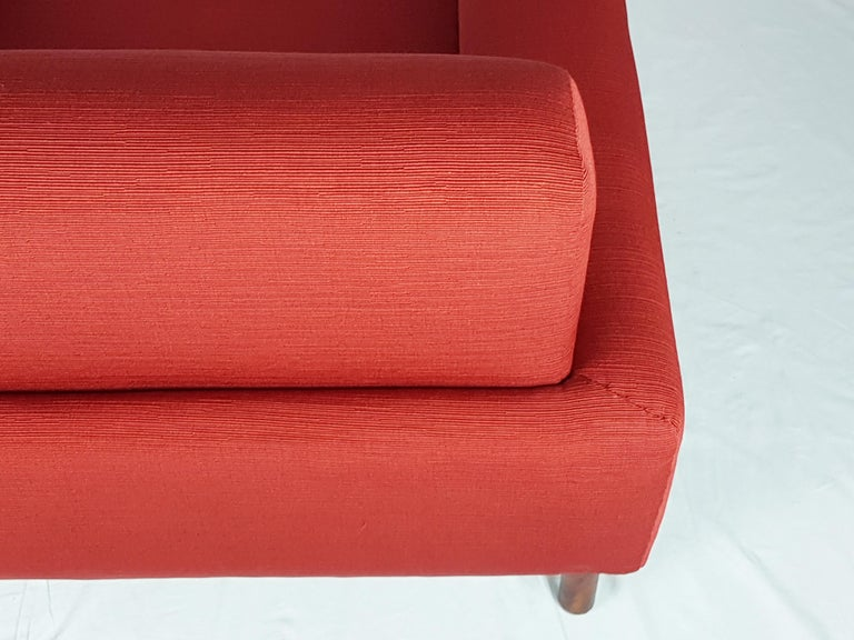 2 Rosewood and Brick Red Fabric 1960 Armchair by S. Saporiti for F.lli Saporiti For Sale 7