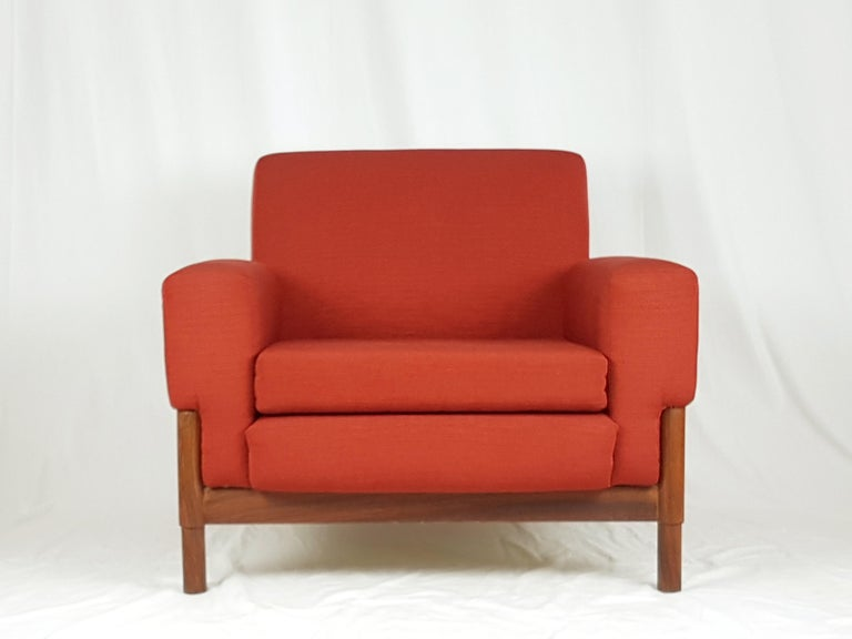 2 Rosewood and Brick Red Fabric 1960 Armchair by S. Saporiti for F.lli Saporiti For Sale 8