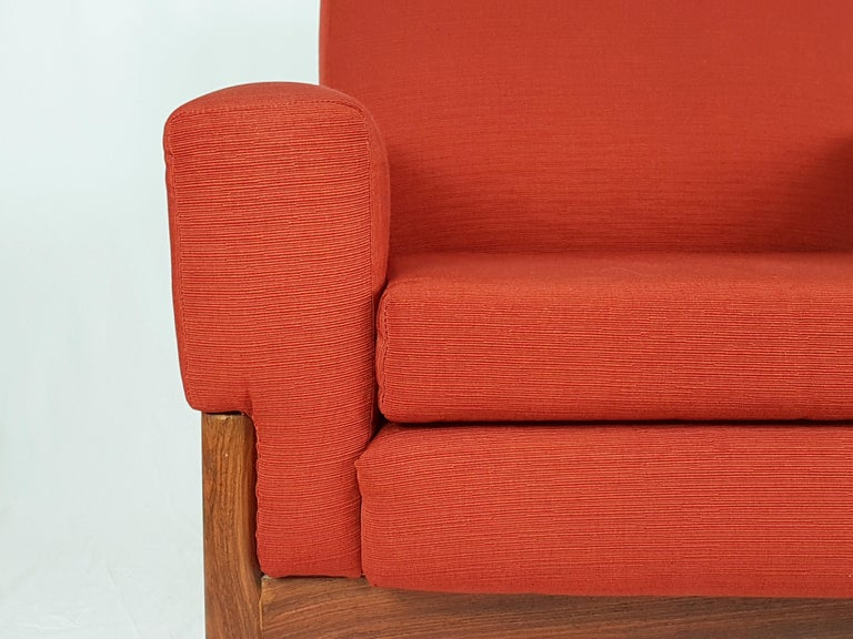 2 Rosewood and Brick Red Fabric 1960 Armchair by S. Saporiti for F.lli Saporiti For Sale 9