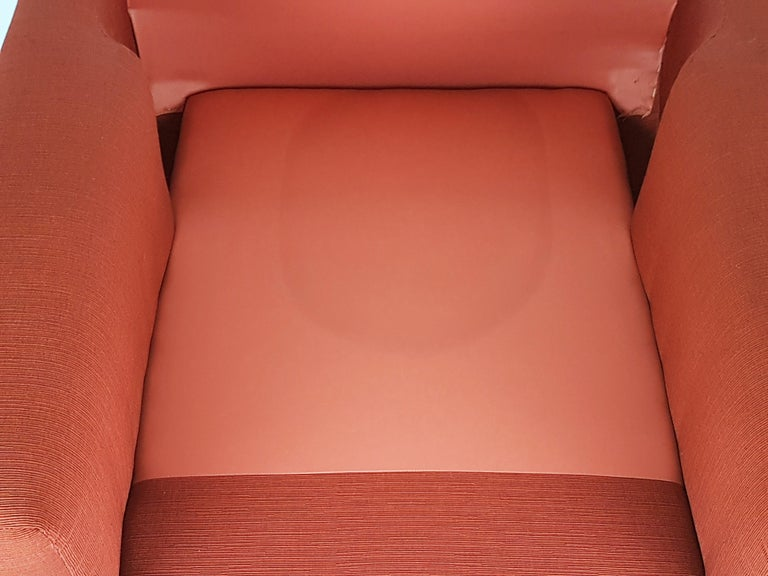 2 Rosewood and Brick Red Fabric 1960 Armchair by S. Saporiti for F.lli Saporiti For Sale 10