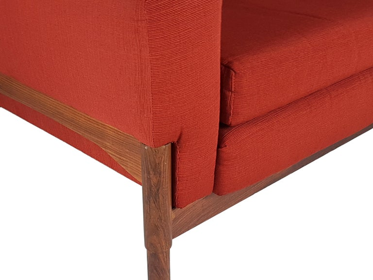 Italian 2 Rosewood and Brick Red Fabric 1960 Armchair by S. Saporiti for F.lli Saporiti For Sale