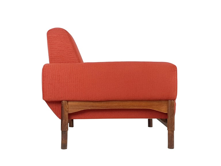Mid-20th Century 2 Rosewood and Brick Red Fabric 1960 Armchair by S. Saporiti for F.lli Saporiti For Sale