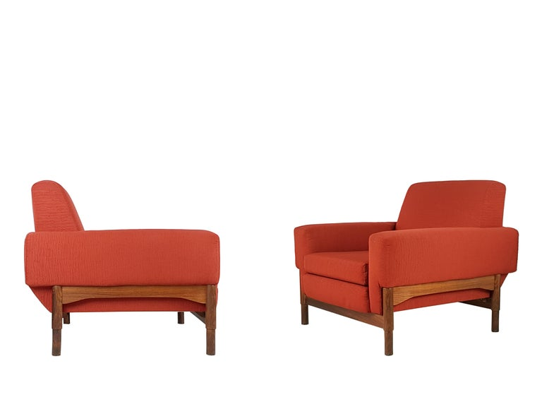 2 Rosewood and Brick Red Fabric 1960 Armchair by S. Saporiti for F.lli Saporiti For Sale 1