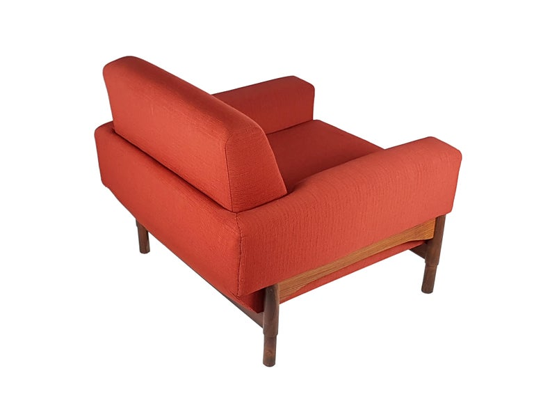 2 Rosewood and Brick Red Fabric 1960 Armchair by S. Saporiti for F.lli Saporiti For Sale 2