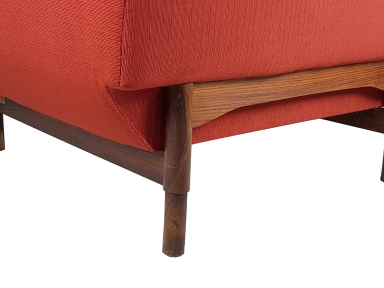 2 Rosewood and Brick Red Fabric 1960 Armchair by S. Saporiti for F.lli Saporiti For Sale 3