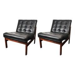 2 rosewood Danish slipper chairs Lind & Gjerlov-Knudsen