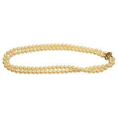2-Row Cultured Pearl Choker Necklace with Diamond Set 14 Carat Snap, circa 1980