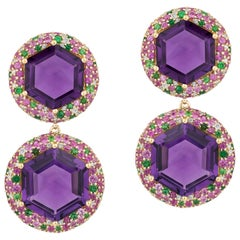 2-Row Hexagon Amethyst Danglers with Pink Sapphire, Tsavorite and Diamonds