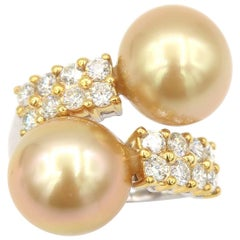 2 Rows Diamonds Gold South Sea Pearls Gold Ring
