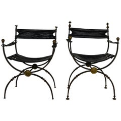 2 Savonarola Iron and Brass Chairs