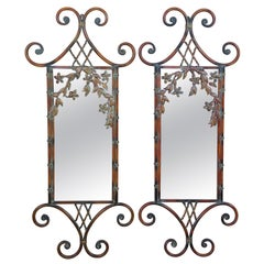 2 Scrolled Iron Chinese Chippendale Faux Bamboo Floral Ornate Mirrors
