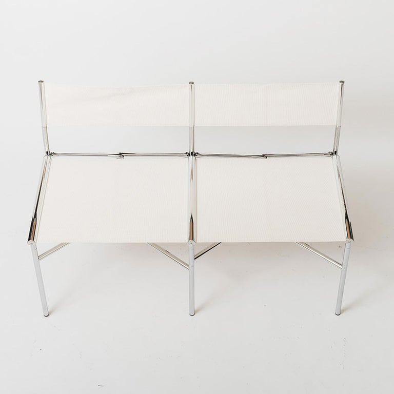 Modern 2-Seat Meeting Bench in White Metal by Laurence Humier For Sale