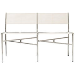 2-Seat Meeting Bench in White Metal by Laurence Humier