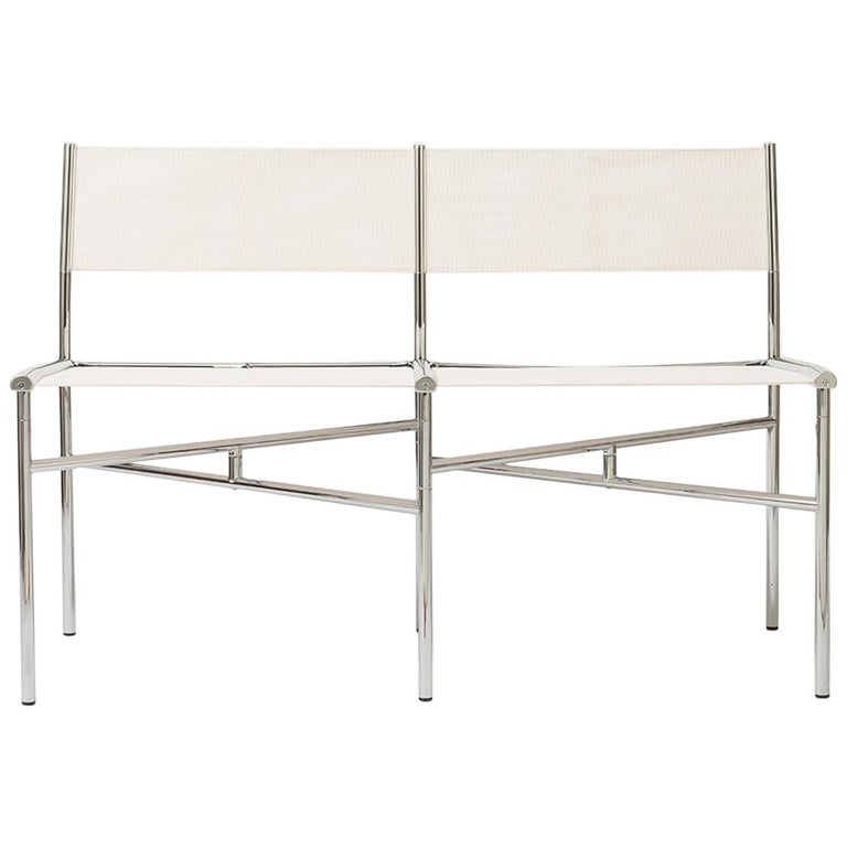 2-Seat Meeting Bench in White Metal by Laurence Humier For Sale