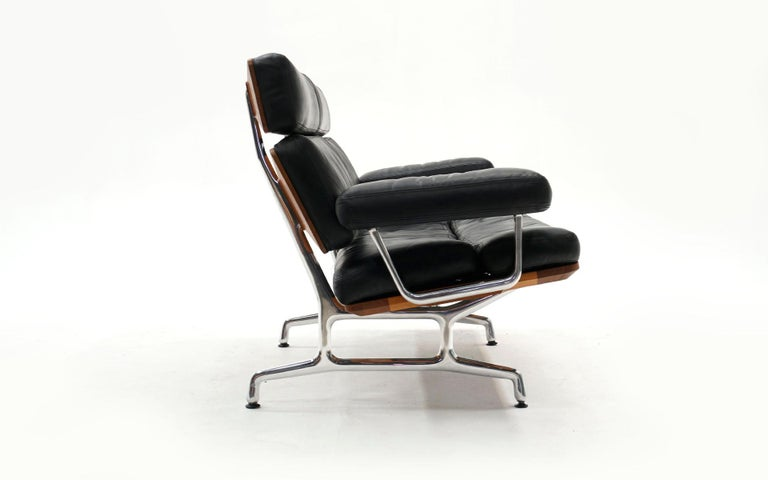 Mid-Century Modern 2 Seat Sofa Settee by Charles and Ray Eames, Solid Walnut and Black Leather