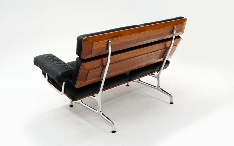 American 2 Seat Sofa Settee by Charles and Ray Eames, Solid Walnut and Black Leather