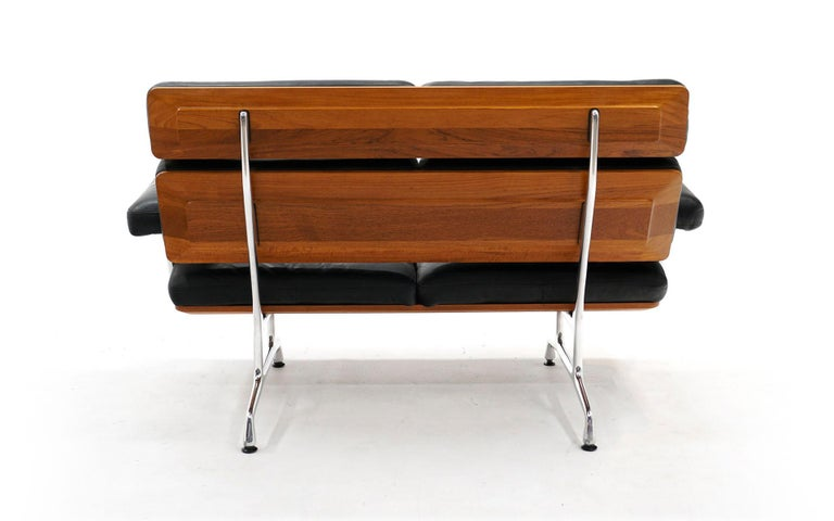 2 Seat Sofa Settee by Charles and Ray Eames, Solid Walnut and Black Leather In Good Condition In Kansas City, MO