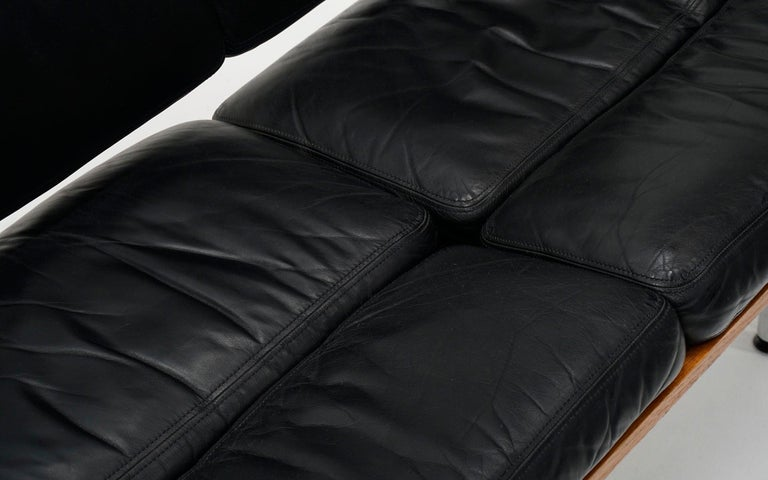 Late 20th Century 2 Seat Sofa Settee by Charles and Ray Eames, Solid Walnut and Black Leather